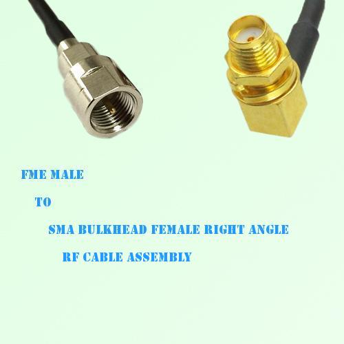 FME Male to SMA Bulkhead Female Right Angle RF Cable Assembly