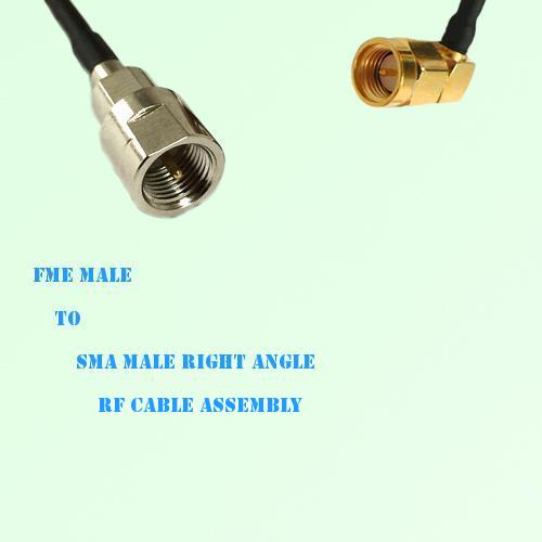 FME Male to SMA Male Right Angle RF Cable Assembly