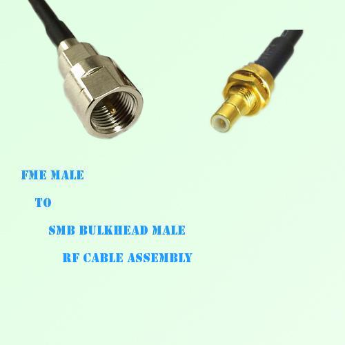 FME Male to SMB Bulkhead Male RF Cable Assembly
