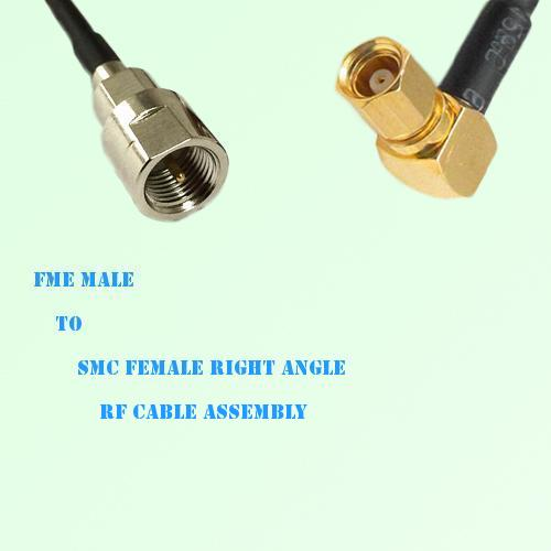 FME Male to SMC Female Right Angle RF Cable Assembly