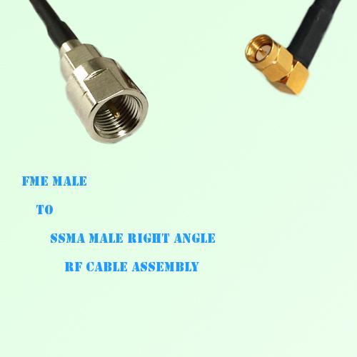FME Male to SSMA Male Right Angle RF Cable Assembly