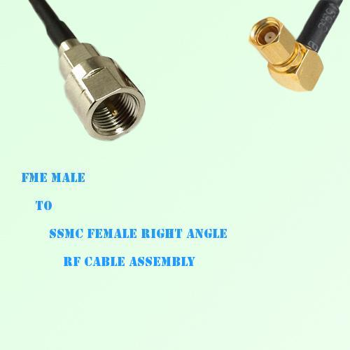 FME Male to SSMC Female Right Angle RF Cable Assembly