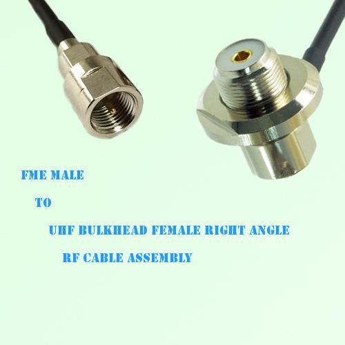 FME Male to UHF Bulkhead Female Right Angle RF Cable Assembly