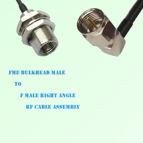 FME Bulkhead Male to F Male Right Angle RF Cable Assembly