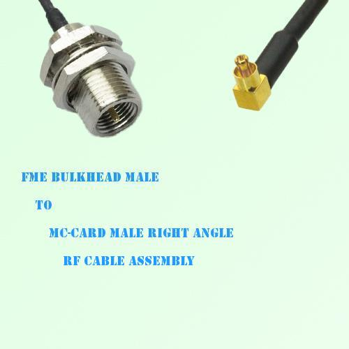 FME Bulkhead Male to MC-Card Male Right Angle RF Cable Assembly