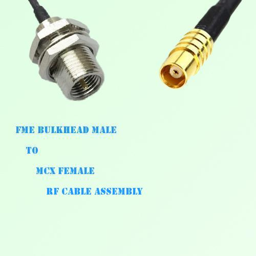 FME Bulkhead Male to MCX Female RF Cable Assembly