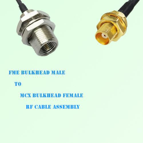 FME Bulkhead Male to MCX Bulkhead Female RF Cable Assembly