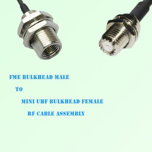 FME Bulkhead Male to Mini UHF Bulkhead Female RF Cable Assembly