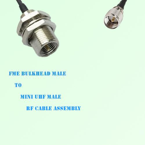 FME Bulkhead Male to Mini UHF Male RF Cable Assembly
