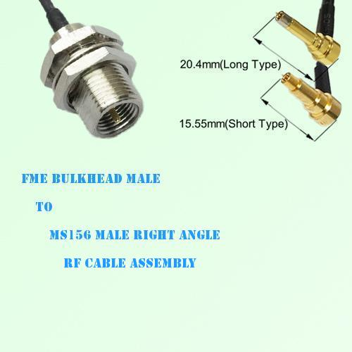 FME Bulkhead Male to MS156 Male Right Angle RF Cable Assembly