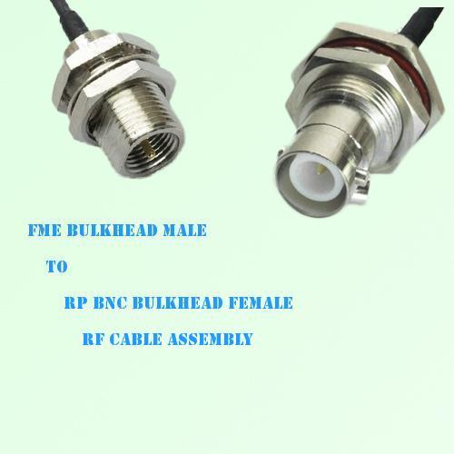 FME Bulkhead Male to RP BNC Bulkhead Female RF Cable Assembly