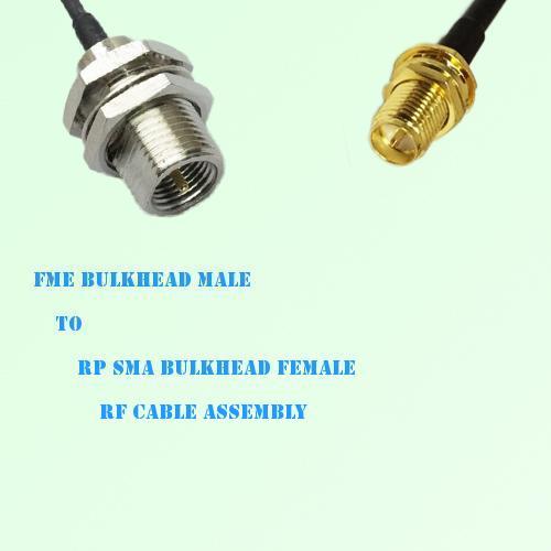 FME Bulkhead Male to RP SMA Bulkhead Female RF Cable Assembly