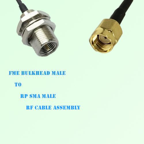 FME Bulkhead Male to RP SMA Male RF Cable Assembly