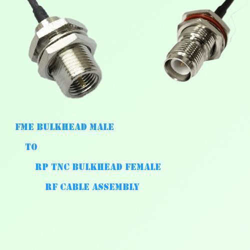 FME Bulkhead Male to RP TNC Bulkhead Female RF Cable Assembly