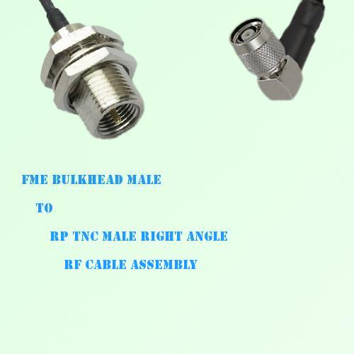 FME Bulkhead Male to RP TNC Male Right Angle RF Cable Assembly