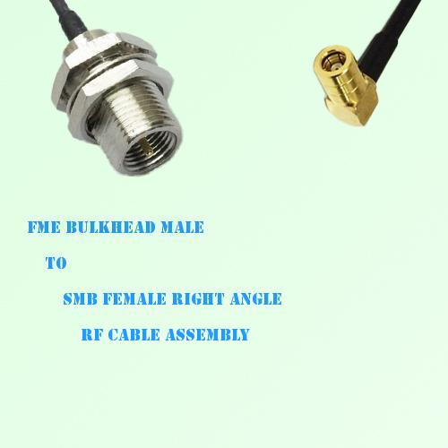 FME Bulkhead Male to SMB Female Right Angle RF Cable Assembly