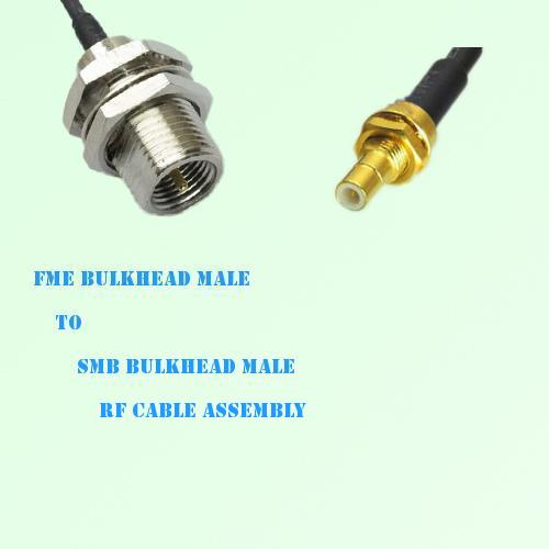 FME Bulkhead Male to SMB Bulkhead Male RF Cable Assembly