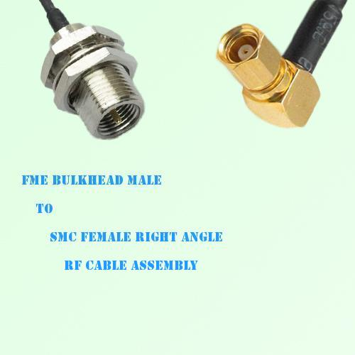 FME Bulkhead Male to SMC Female Right Angle RF Cable Assembly