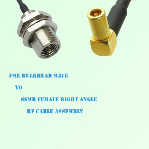 FME Bulkhead Male to SSMB Female Right Angle RF Cable Assembly