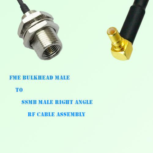 FME Bulkhead Male to SSMB Male Right Angle RF Cable Assembly