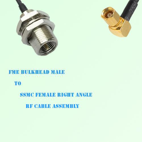 FME Bulkhead Male to SSMC Female Right Angle RF Cable Assembly