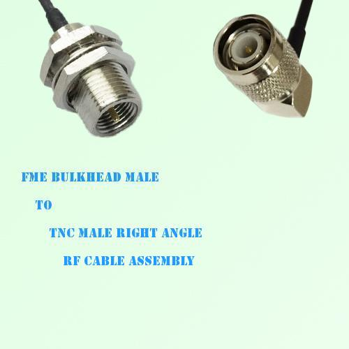 FME Bulkhead Male to TNC Male Right Angle RF Cable Assembly
