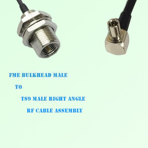 FME Bulkhead Male to TS9 Male Right Angle RF Cable Assembly