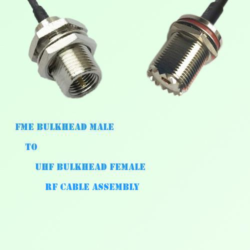 FME Bulkhead Male to UHF Bulkhead Female RF Cable Assembly