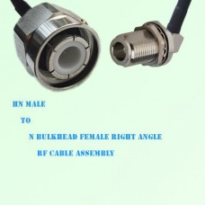 HN Male to N Bulkhead Female Right Angle RF Cable Assembly