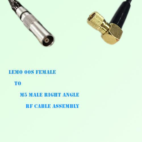 Lemo FFA 00S Female to Microdot 10-32 M5 Male R/A RF Cable Assembly