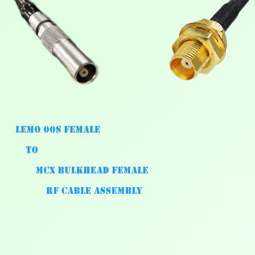 Lemo FFA 00S Female to MCX Bulkhead Female RF Cable Assembly