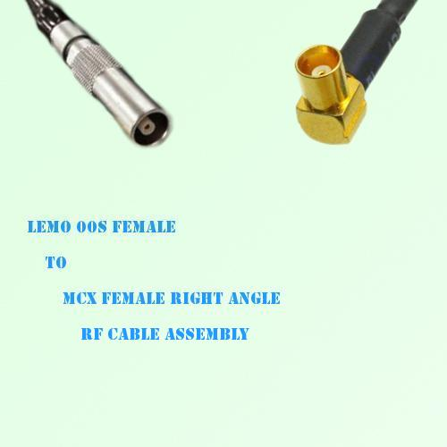 Lemo FFA 00S Female to MCX Female Right Angle RF Cable Assembly