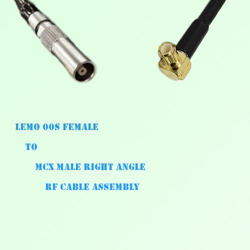 Lemo FFA 00S Female to MCX Male Right Angle RF Cable Assembly
