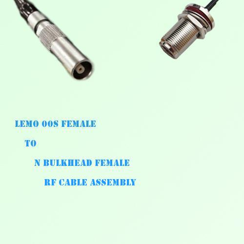 Lemo FFA 00S Female to N Bulkhead Female RF Cable Assembly