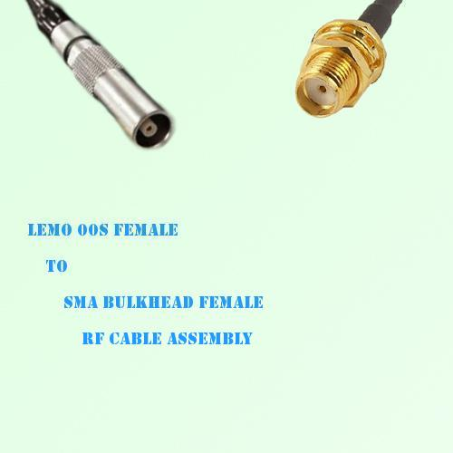 Lemo FFA 00S Female to SMA Bulkhead Female RF Cable Assembly
