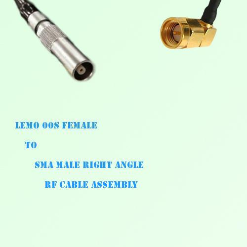 Lemo FFA 00S Female to SMA Male Right Angle RF Cable Assembly