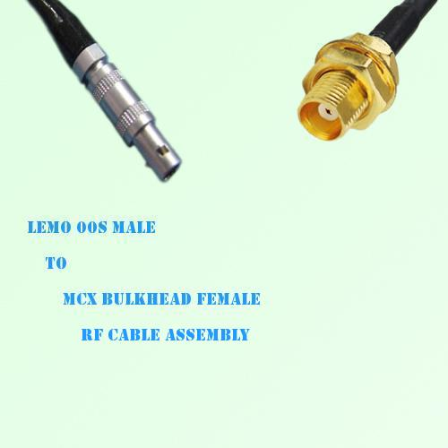 Lemo FFA 00S Male to MCX Bulkhead Female RF Cable Assembly