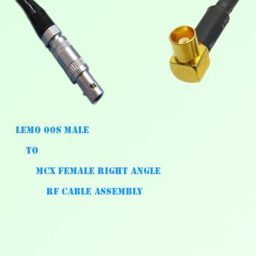 Lemo FFA 00S Male to MCX Female Right Angle RF Cable Assembly