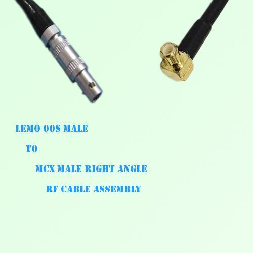 Lemo FFA 00S Male to MCX Male Right Angle RF Cable Assembly