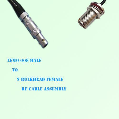 Lemo FFA 00S Male to N Bulkhead Female RF Cable Assembly