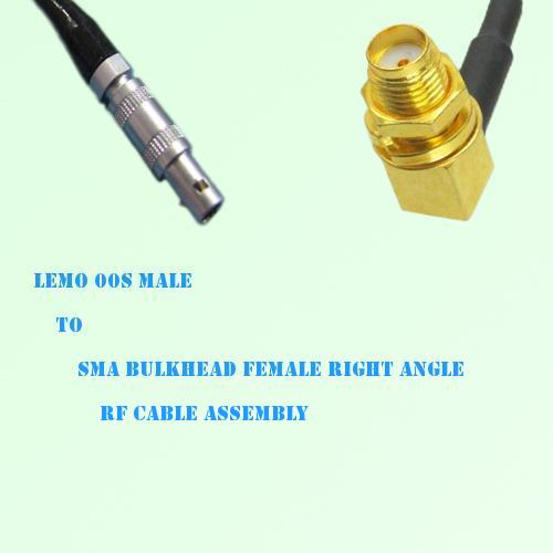Lemo FFA 00S Male to SMA Bulkhead Female Right Angle RF Cable Assembly