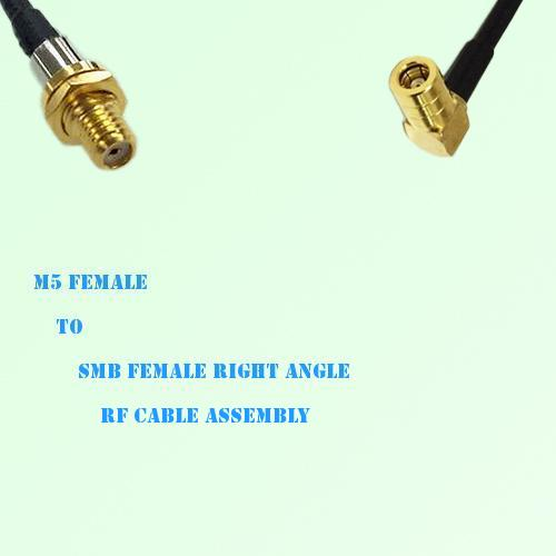 Microdot 10-32 M5 Female to SMB Female Right Angle RF Cable Assembly
