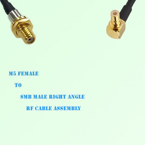 Microdot 10-32 M5 Female to SMB Male Right Angle RF Cable Assembly