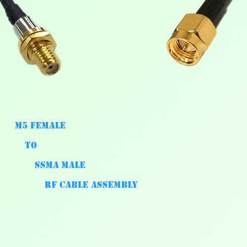 Microdot 10-32 M5 Female to SSMA Male RF Cable Assembly