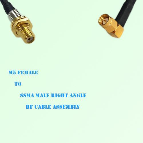 Microdot 10-32 M5 Female to SSMA Male Right Angle RF Cable Assembly