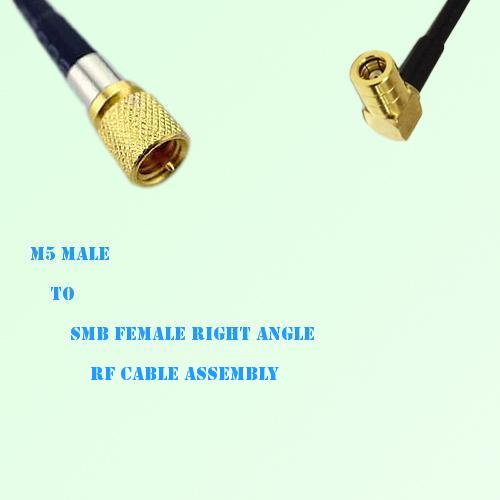 Microdot 10-32 M5 Male to SMB Female Right Angle RF Cable Assembly