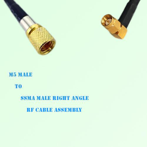 Microdot 10-32 M5 Male to SSMA Male Right Angle RF Cable Assembly