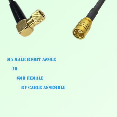 Microdot 10-32 M5 Male Right Angle to SMB Female RF Cable Assembly