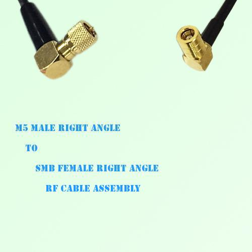 Microdot 10-32 M5 Male R/A to SMB Female R/A RF Cable Assembly