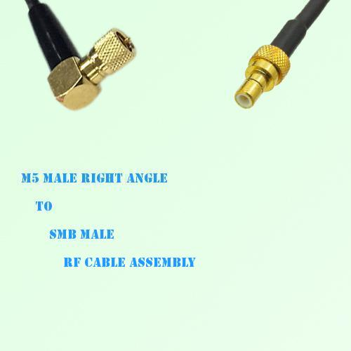 Microdot 10-32 M5 Male Right Angle to SMB Male RF Cable Assembly